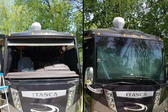 Windshield replacement for Itasca motorhome in Indiana